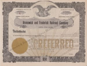 Brunswick & Frederick Railroad Stock