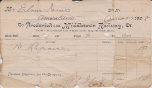 Middletown Waybill from 1898