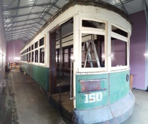 Car 150 in the process of being partially dismantled for cosmetic renovation and modification for use by the Town of Myersville