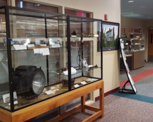 One of four display cases outside the Maryland Room on the second floor of the C. Burr Artz Library.