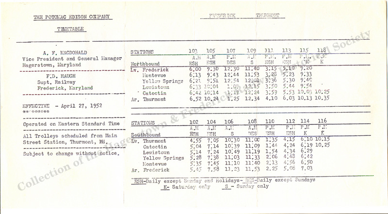 1952 Timetable
